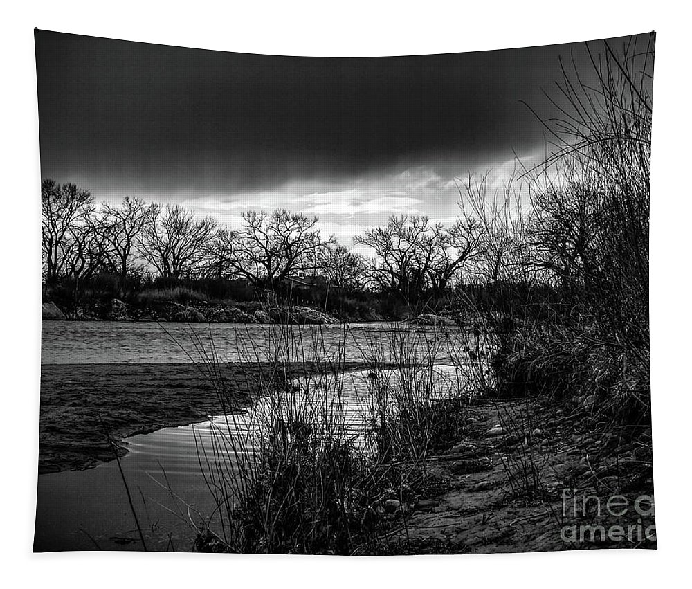 Landscape Tapestry featuring the digital art River With Dark Cloud In Black And White by Brenda Landdeck