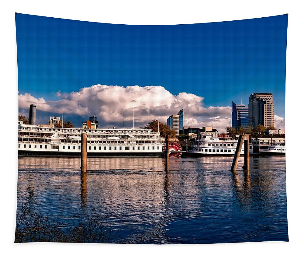 Sacramento Tapestry featuring the photograph Riverboats Of Sacramento by Mountain Dreams