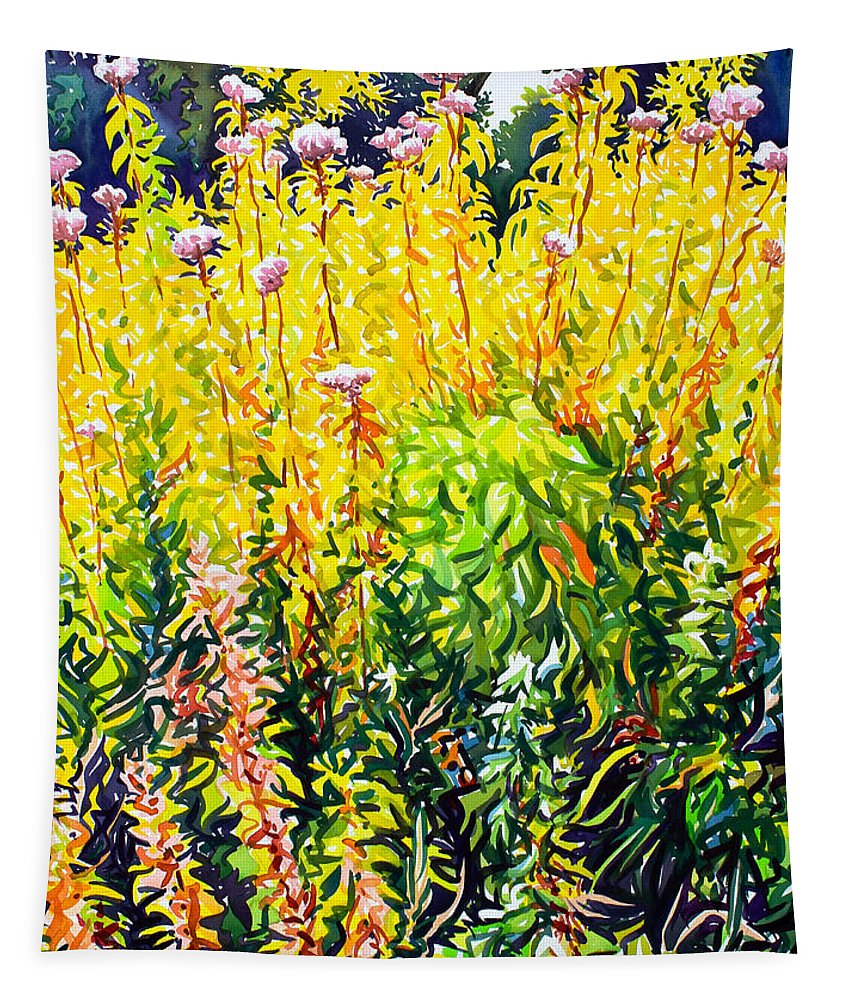 Floral Tapestry featuring the painting Riverside Late Summer by Christopher Ryland