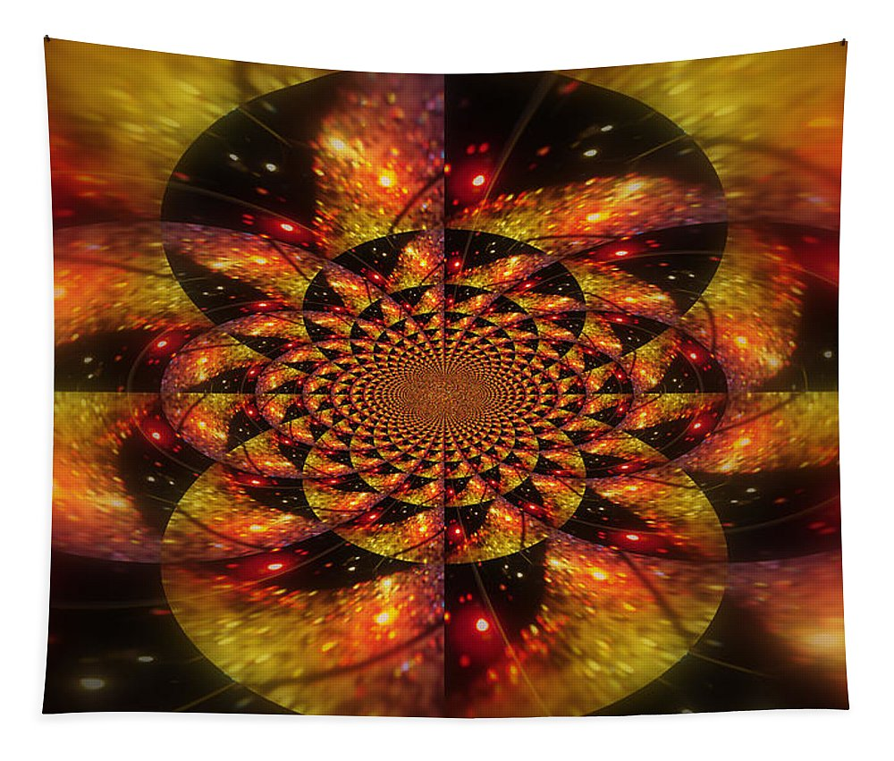 Abstract. Tapestry featuring the digital art Road Rage by Linda Galok