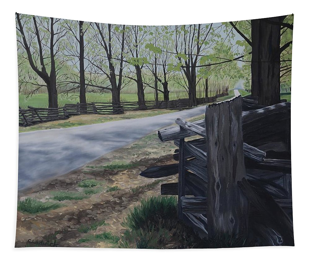 49 Tapestry featuring the painting Road To Phillipsville by Phil Chadwick