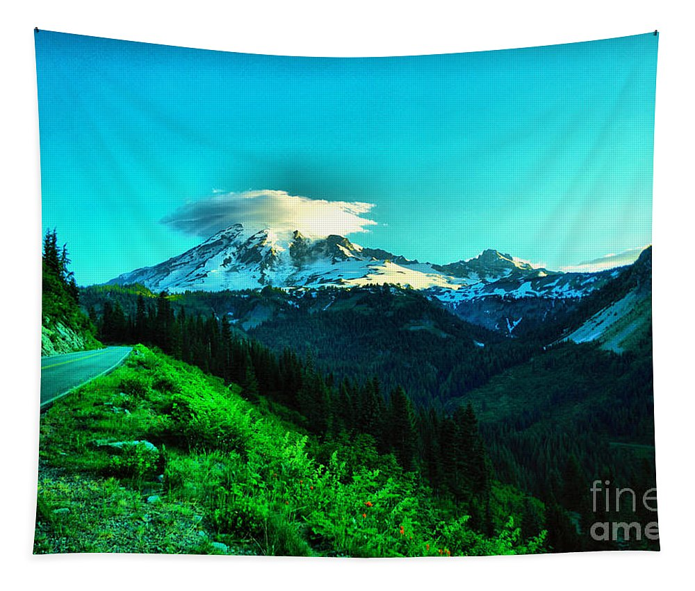 Mountain Tapestry featuring the photograph Road To The Mountain by Jeff Swan