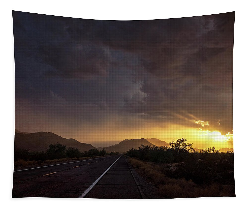 Road Tapestry featuring the photograph Roadside Sunset by Saija Lehtonen