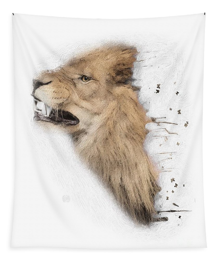 Lion Tapestry featuring the digital art Roaring Lion No 04 by Maria Astedt