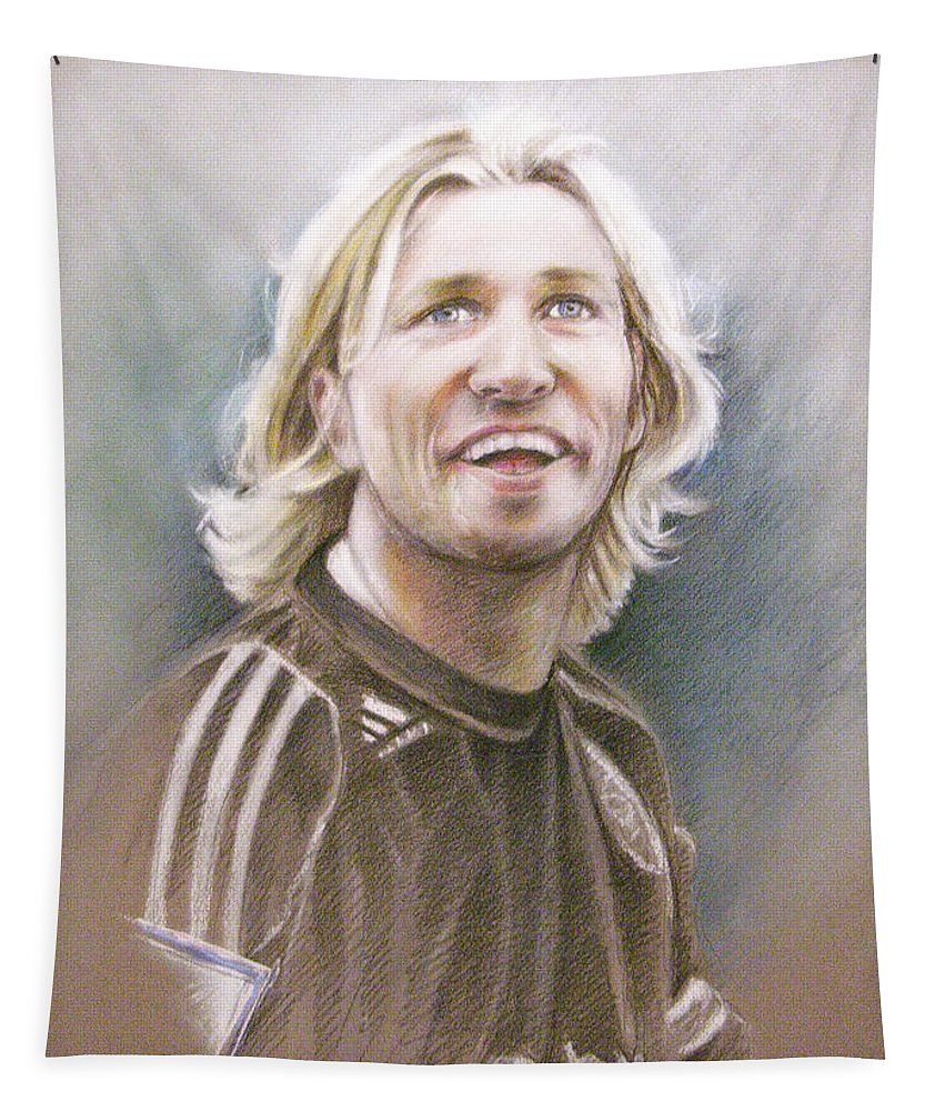Pastel Portrait Tapestry featuring the painting Robbie Savage by Miki De Goodaboom