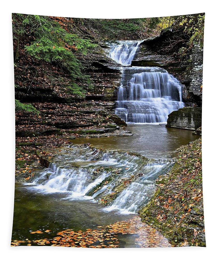 Waterfall Tapestry featuring the photograph Robert Treman Waterfall by Frozen in Time Fine Art Photography