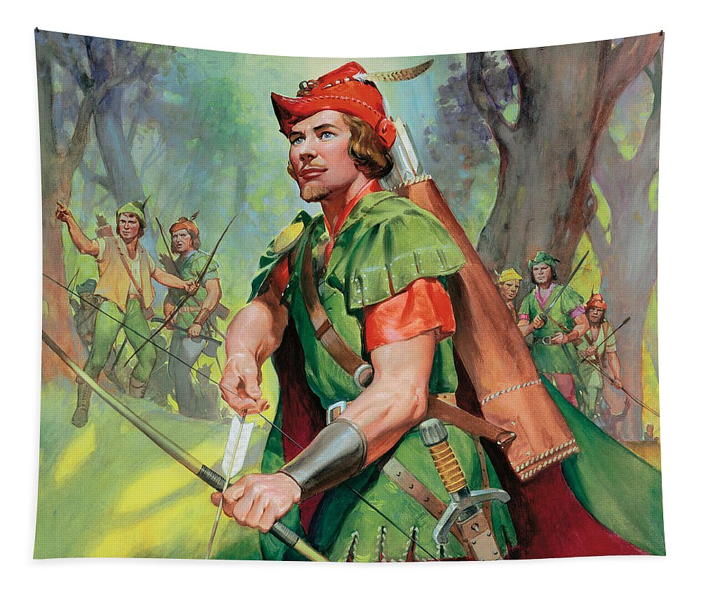 Robin Tapestry featuring the painting Robin Hood by James Edwin McConnell