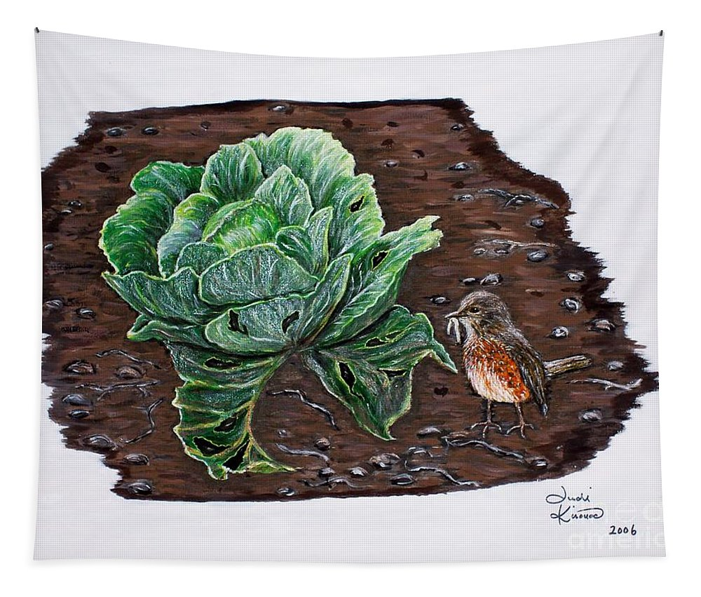 Robin Tapestry featuring the painting Robin In The Gardin by Judy Kirouac