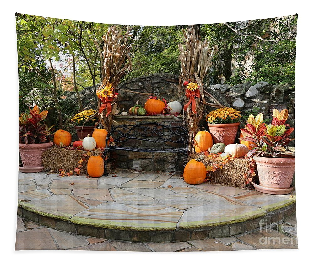 Bench Tapestry featuring the photograph Rock City Autumn Bench by Carol Groenen
