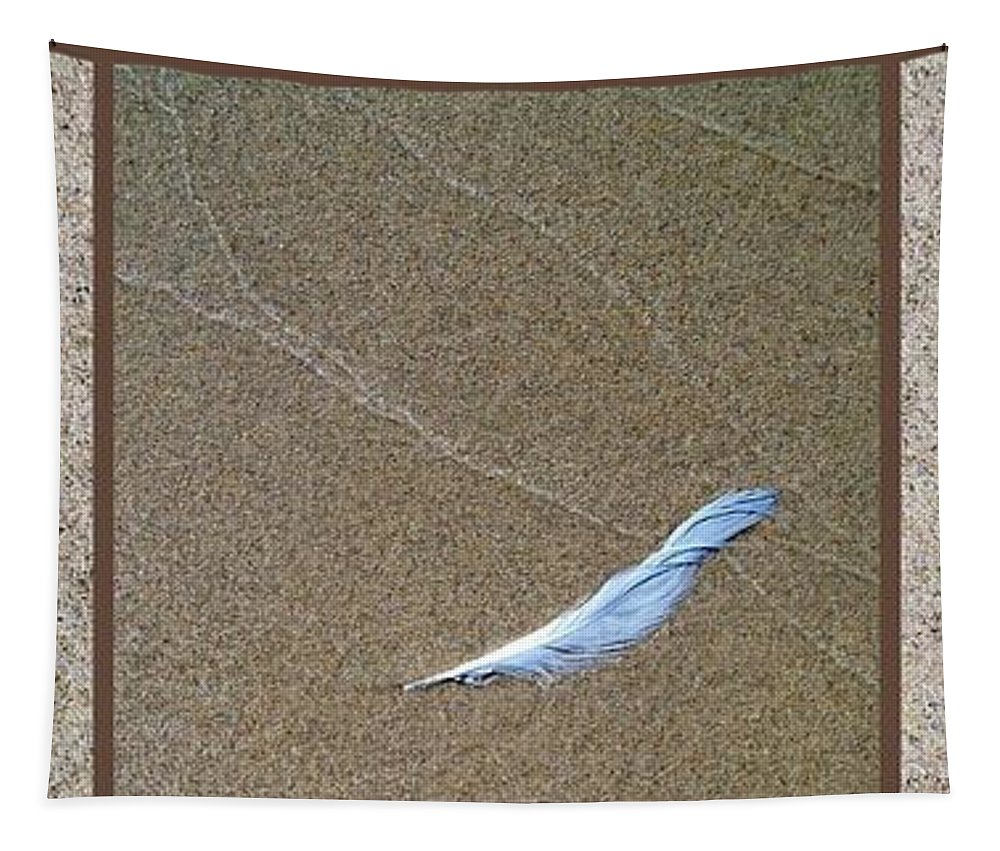 Zen Tapestry featuring the photograph Rock Feather Glass by Michelle Calkins