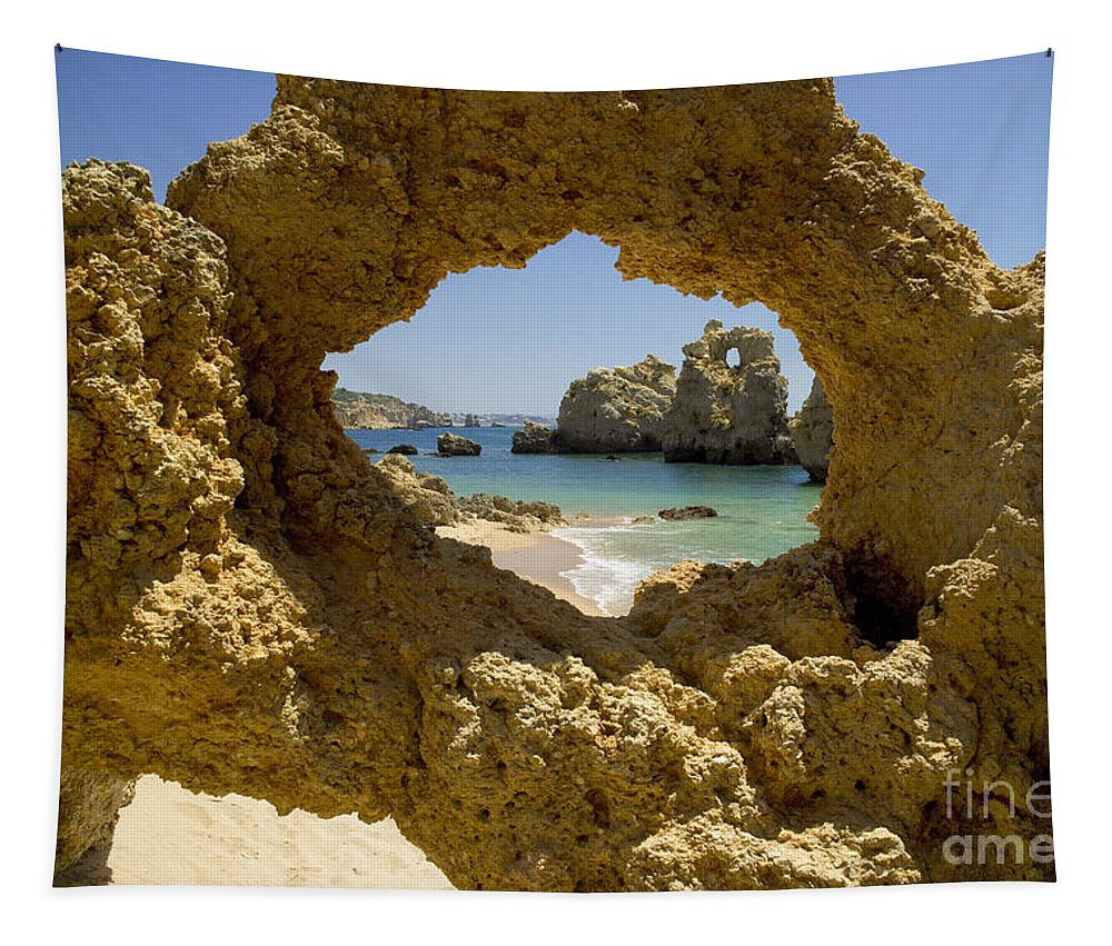 Praia De Sao Rafael Tapestry featuring the photograph Rock Formations, Albufeira by Mikehoward Photography