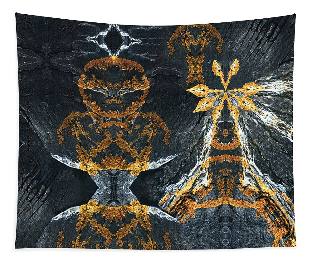 Rocks Tapestry featuring the digital art Rock Gods Lichen Lady and Lords by Nancy Griswold