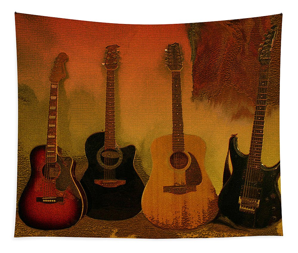 Music Tapestry featuring the photograph Rock N Roll Guitars by Linda Sannuti