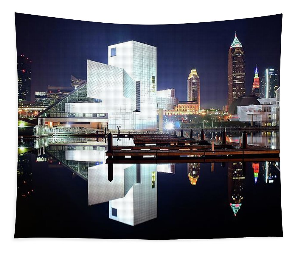 Cleveland Tapestry featuring the photograph Rock N Roll Hall Of Fame by Frozen in Time Fine Art Photography