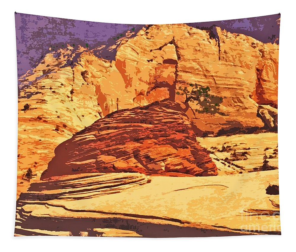 Decorating Tapestry featuring the painting Rock Of Ages by Sharon Eng