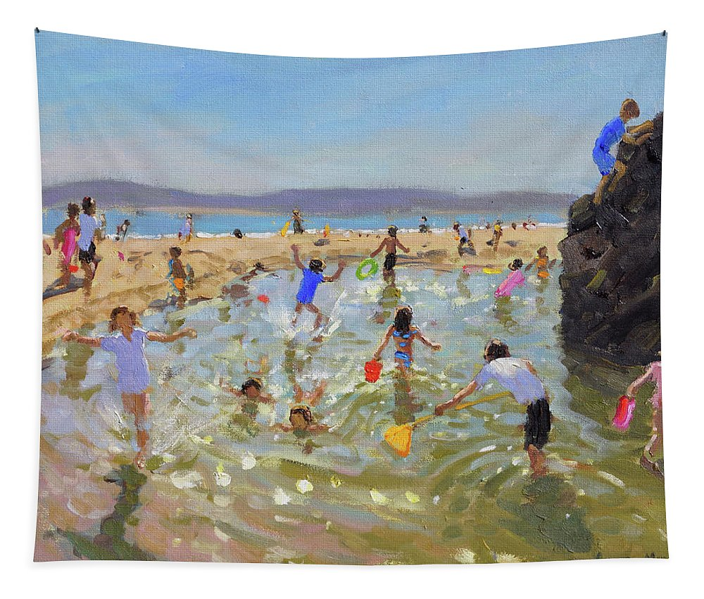 Rock Pool Tapestry featuring the painting Rock Pool, Tenby by Andrew Macara
