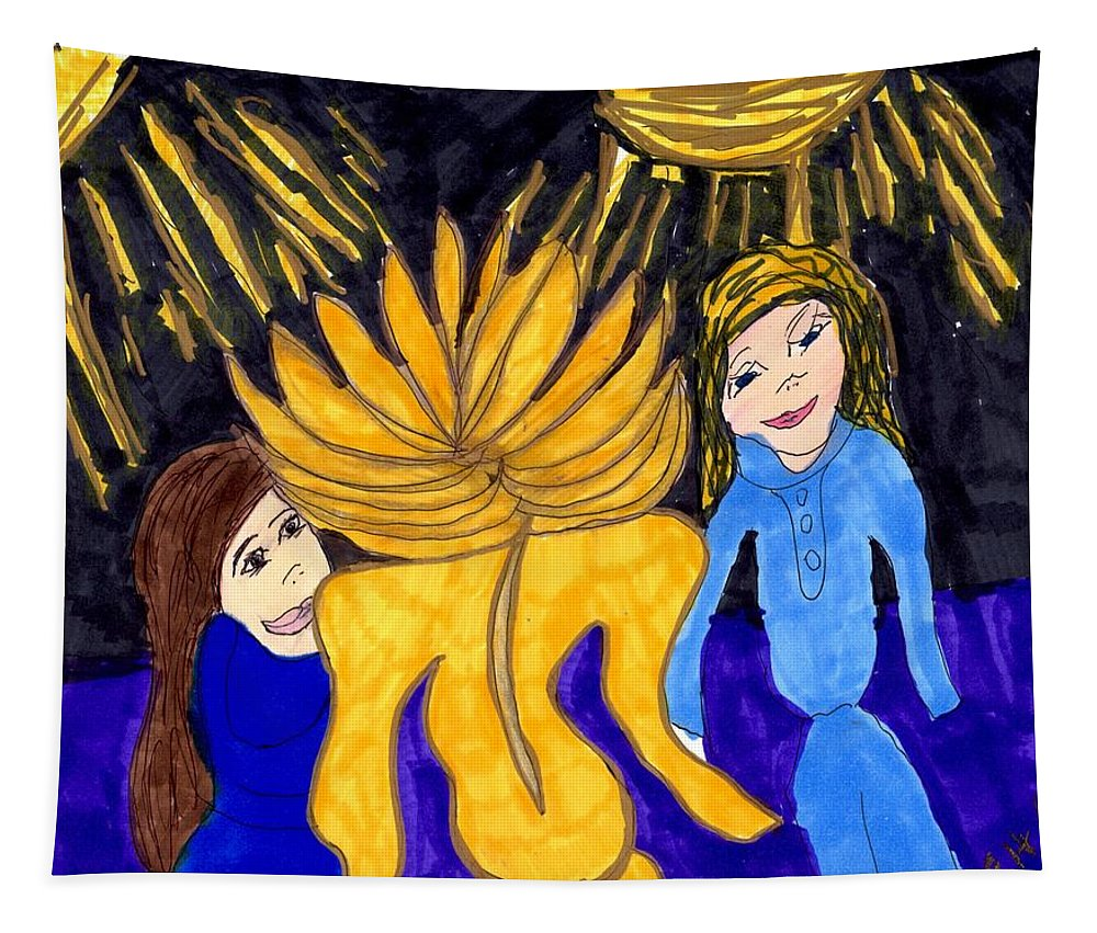 Yellow Outfit On Stage Tapestry featuring the mixed media Rock Star by Elinor Helen Rakowski