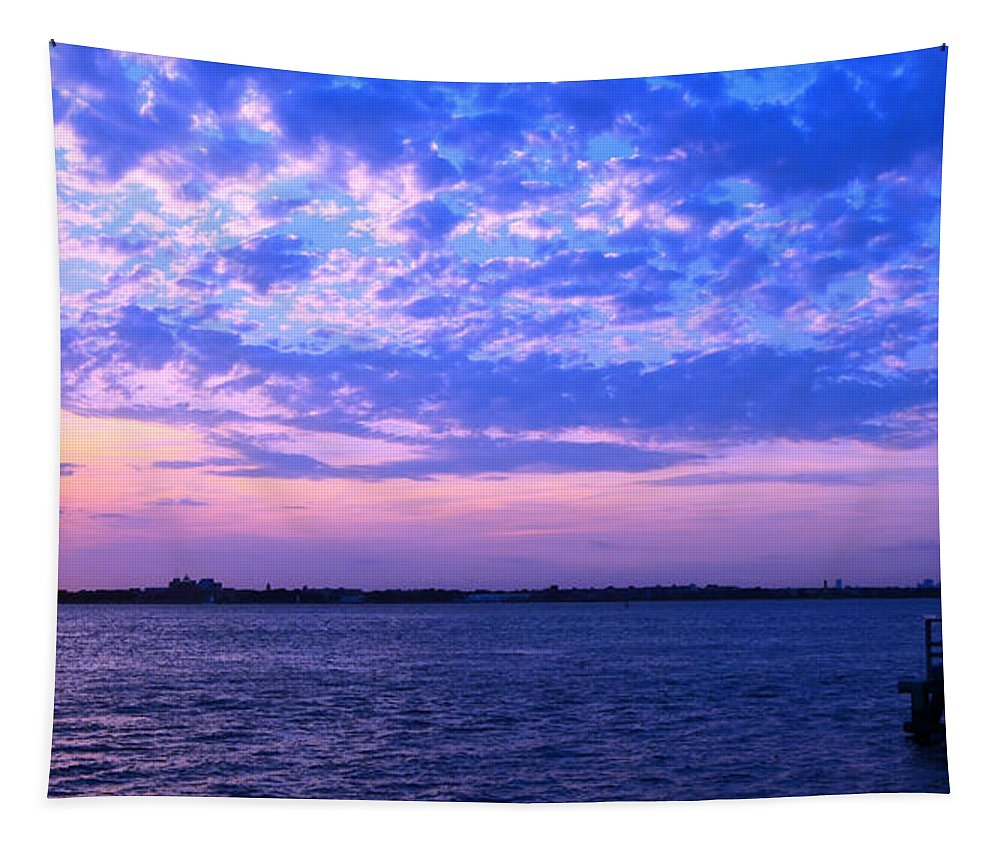Rockaway Point Tapestry featuring the photograph Rockaway Point Dock Sunset Violet Orange by Maureen E Ritter