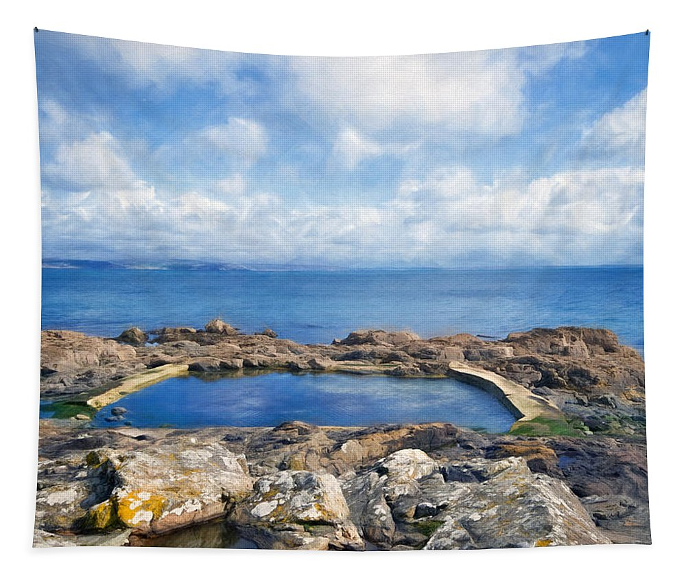 Mousehole Tapestry featuring the photograph Rockpools At Mousehole - Impressions by Susie Peek