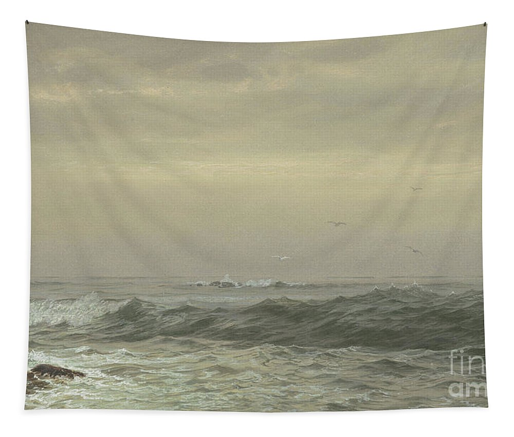 Rocks And Breaking Waves Tapestry featuring the painting Rocks And Breaking Waves by William Trost Richards