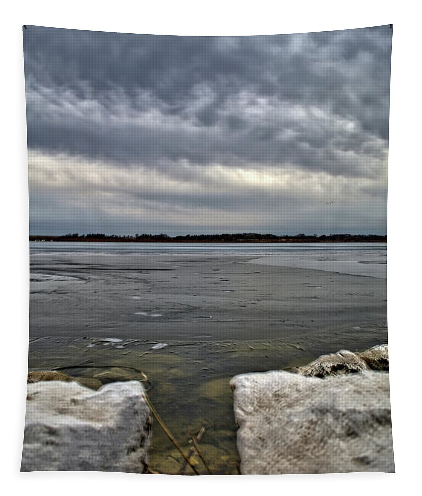 Rocks Tapestry featuring the photograph Rocks And Ice 2 by Bonfire Photography