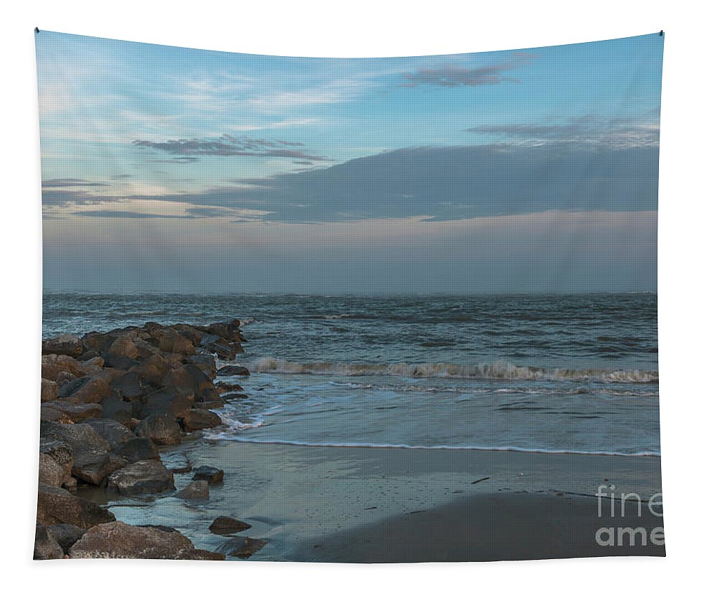 Jetty Tapestry featuring the photograph Rocks And Waves by Dale Powell