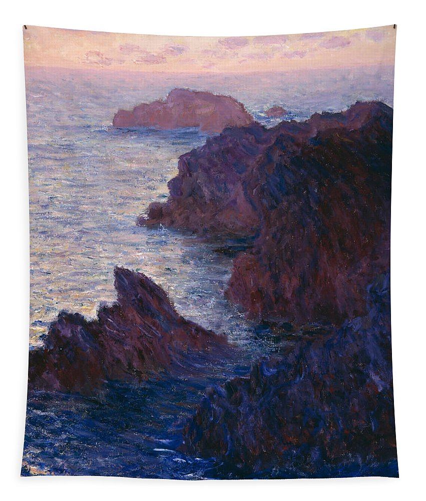 Claude Tapestry featuring the painting Rocks At Bell Ile by Claude Monet
