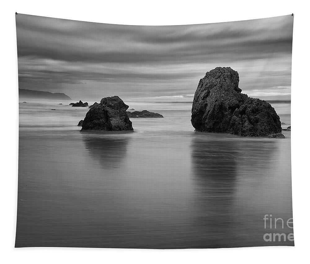 Beach Tapestry featuring the photograph Rocks On The Beach by Masako Metz