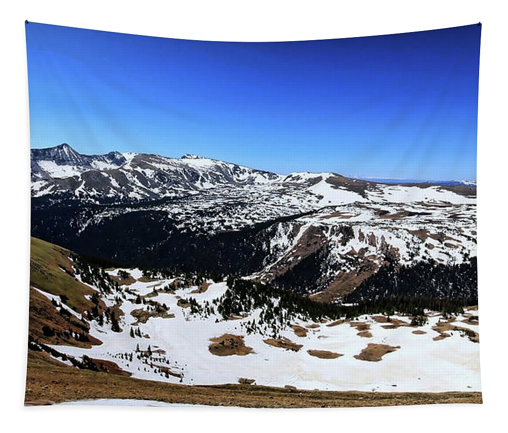 Rocky Mountain National Park Tapestry featuring the photograph Rocky Mountain National Park Pano 2 by Judy Vincent