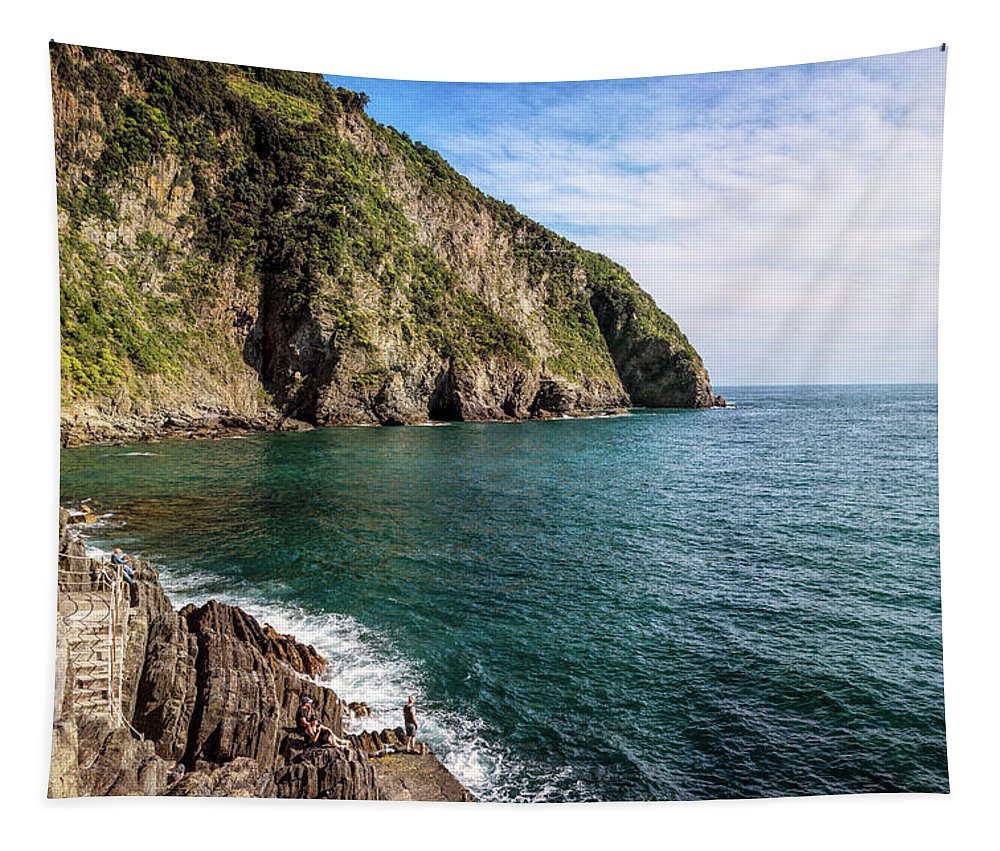 Joan Carroll Tapestry featuring the photograph Rocky Shore Riomaggiore Cinque Terre Italy by Joan Carroll