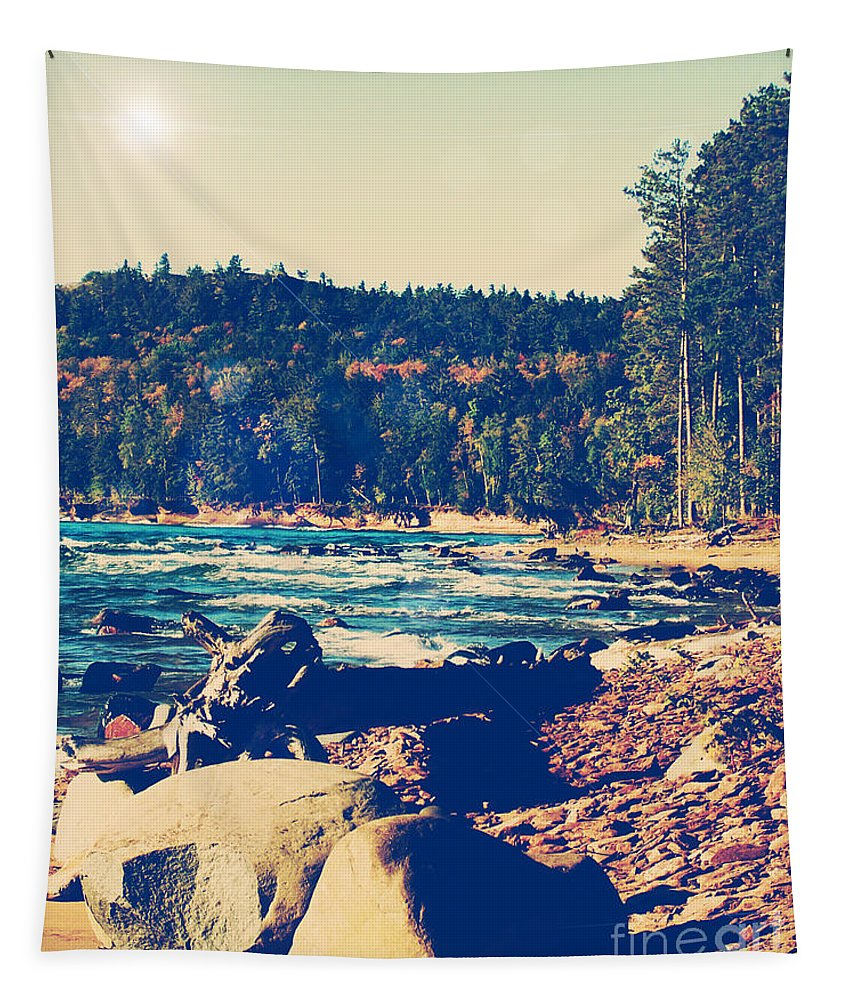 Photo Tapestry featuring the photograph Rocky Shores Of Lake Superior by Phil Perkins