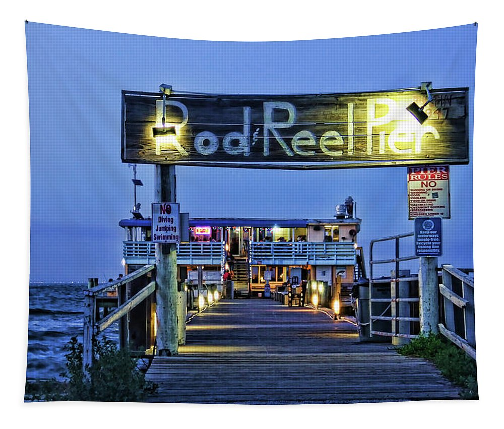 Hh Photography Of Florida Tapestry featuring the photograph Rod And Reel Pier by HH Photography of Florida