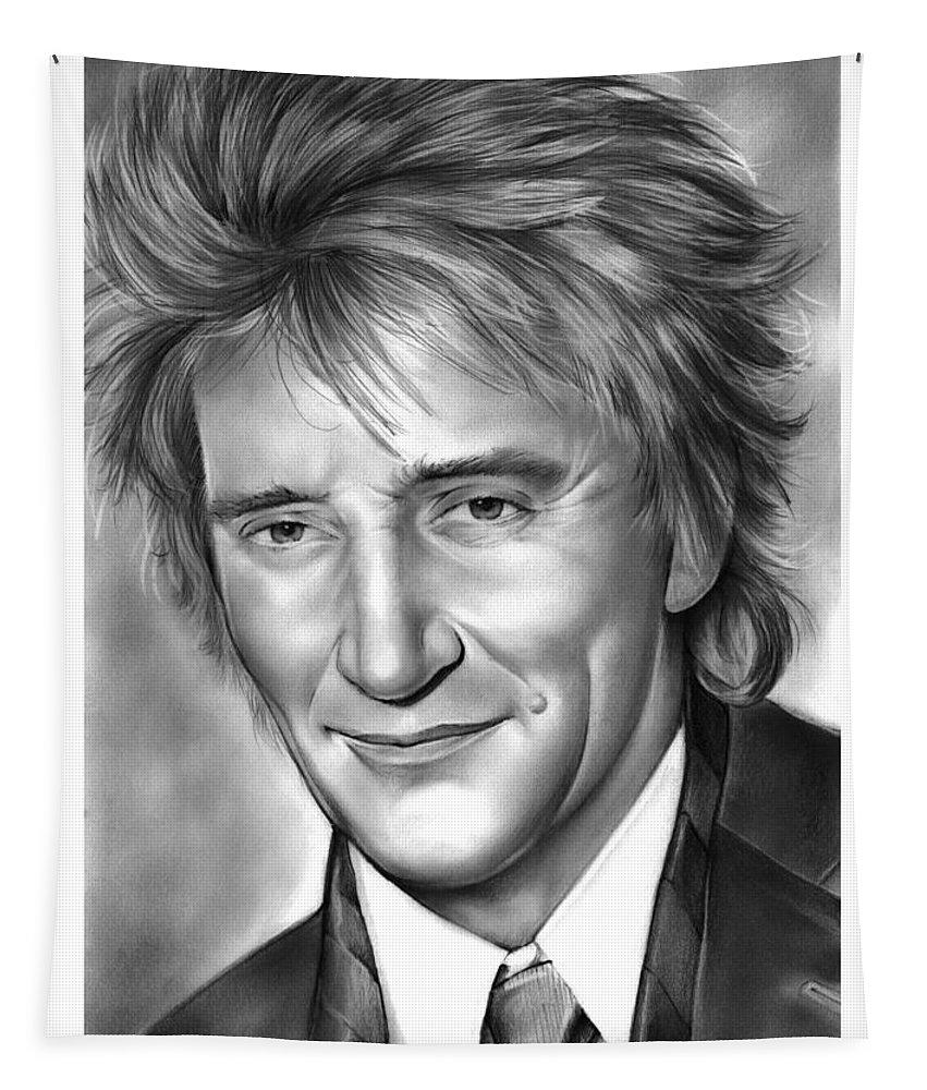Rod Stewart Tapestry featuring the drawing Rod Stewart by Greg Joens