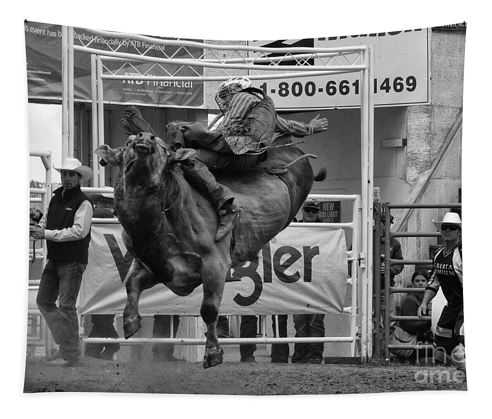 Bull Tapestry featuring the photograph Rodeo Bull Riding 1 by Bob Christopher