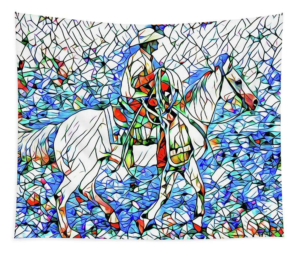 Alicegipsonphotographs Tapestry featuring the photograph Rodeo Wrangler Mosaic by Alice Gipson