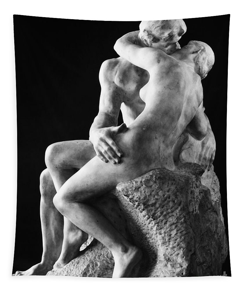 1886 Tapestry featuring the photograph Rodin: The Kiss, 1886 by Granger