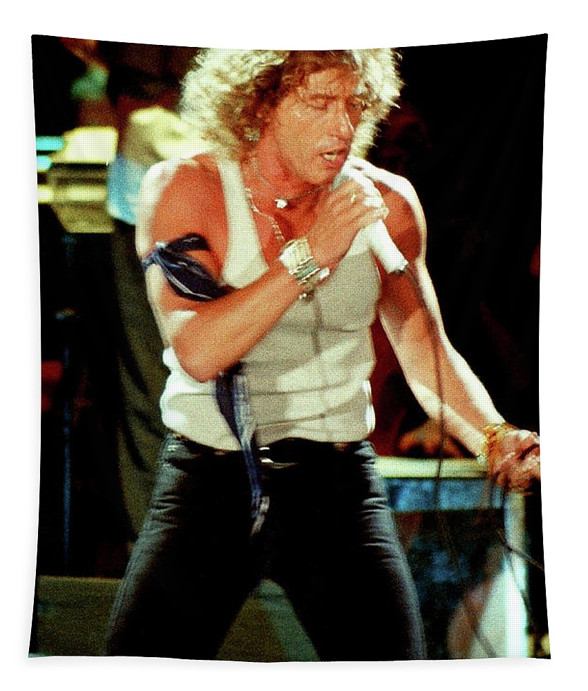 Roger Daltrey Tapestry featuring the photograph Roger Daltrey-94-0151 by Timothy Bischoff