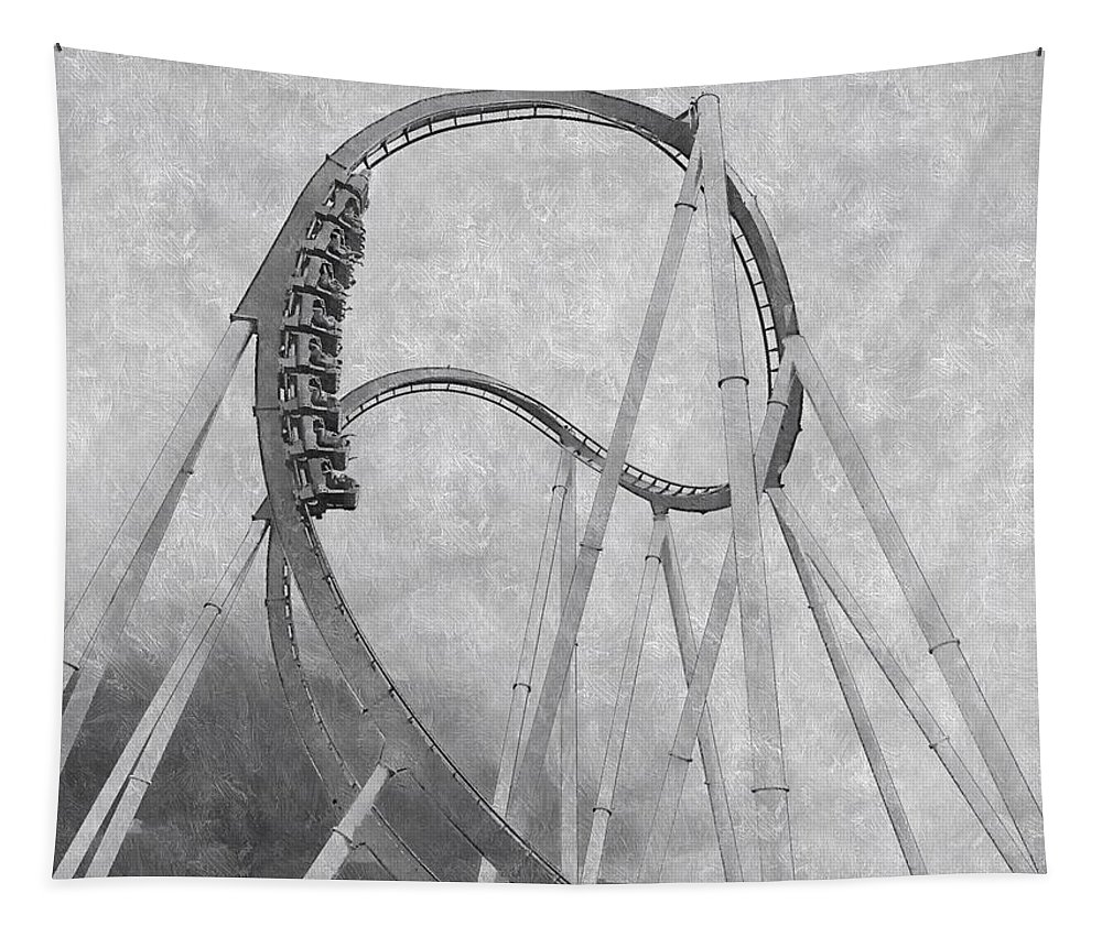 Roller Coaster Tapestry featuring the mixed media Hulk Roller Coaster Ride by Paul Wilford