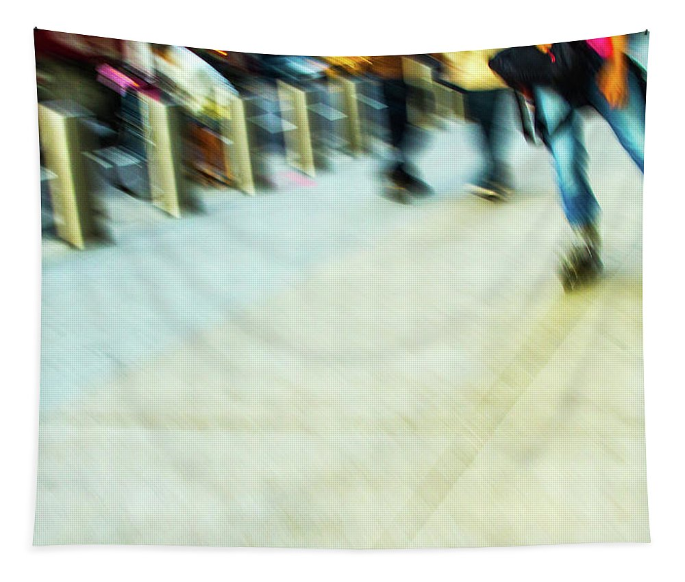 Rolling Blading In Nyc Tapestry featuring the photograph Rolling Blading In Nyc by Karol Livote