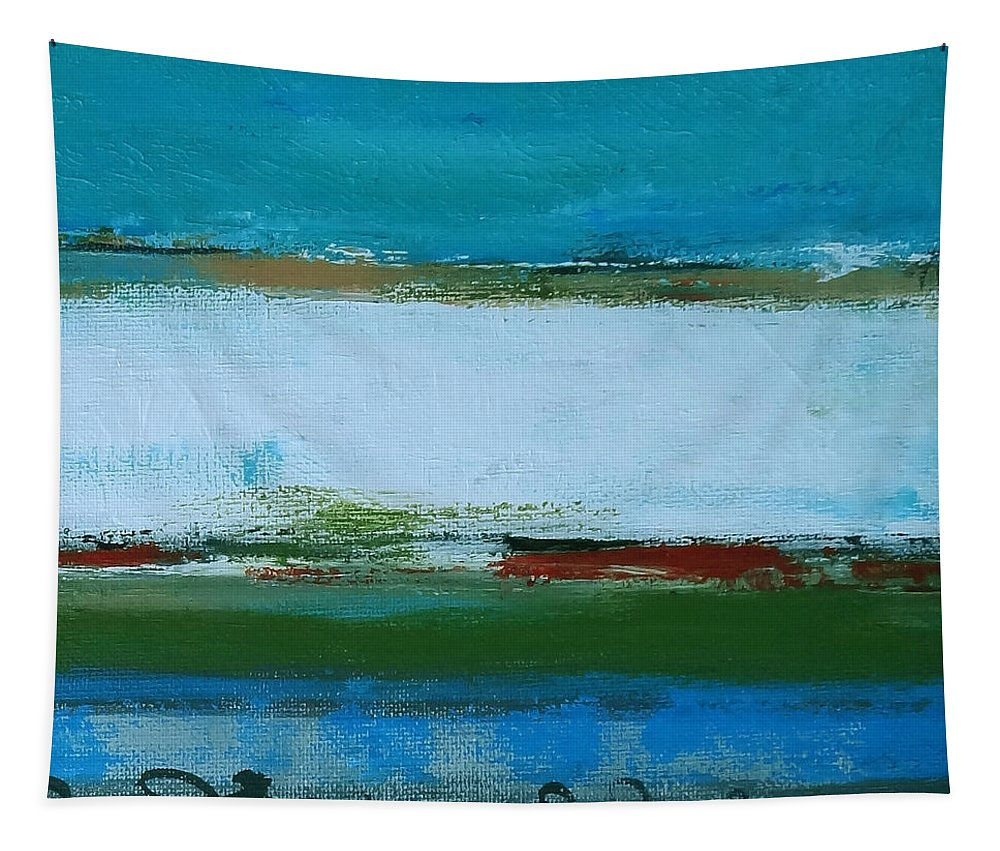 Abstract Tapestry featuring the painting Rolling On The Blue by Ruth Palmer