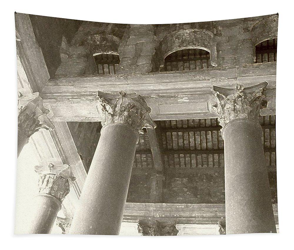 Roman Columns Tapestry featuring the photograph Roman Columns by Barbie Corbett-Newmin