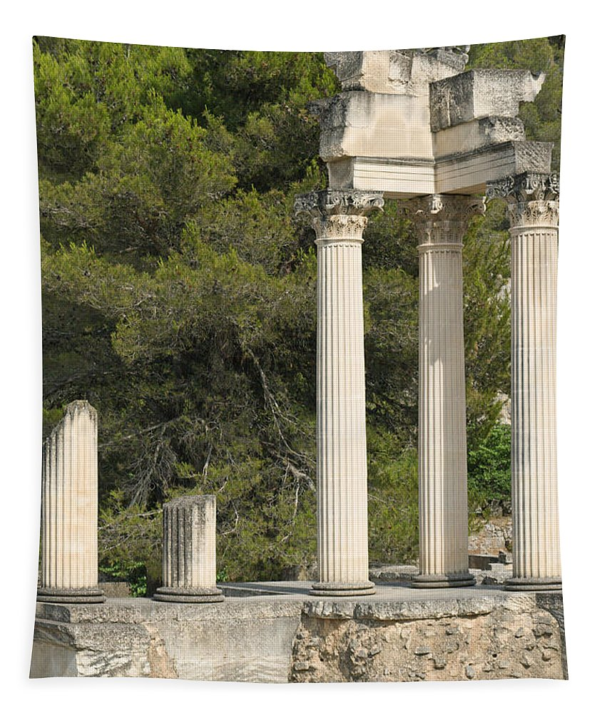 Ancient Tapestry featuring the photograph Roman Columns In Glanum by Jaroslav Frank