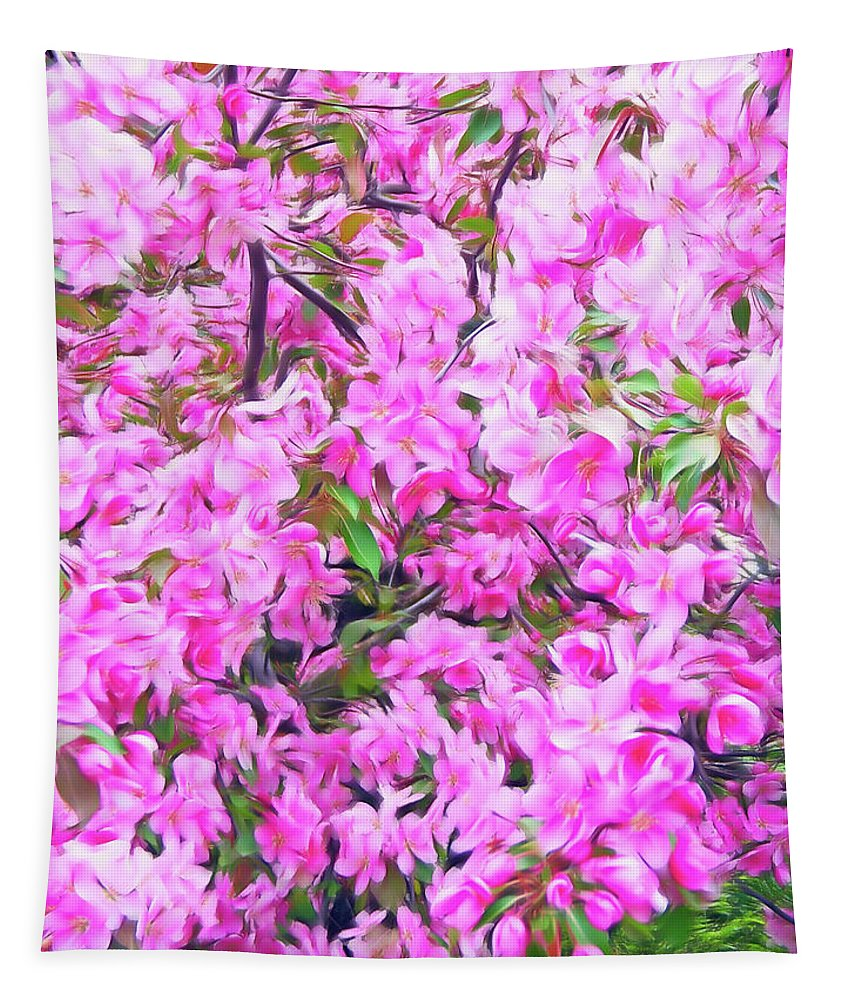 Tree Tapestry featuring the photograph Romantic Skies Apple Blossoms by Aimee L Maher ALM GALLERY