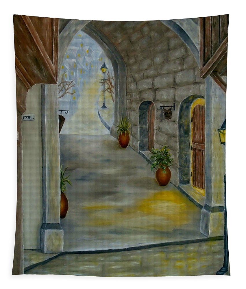 Town Tapestry featuring the painting Romantic Vision by Faye Anastasopoulou