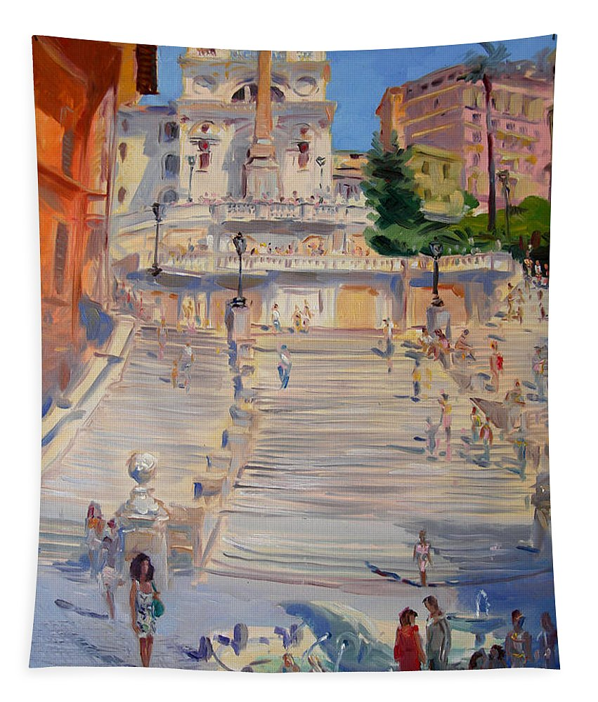 Rome Piazza Di Spagna Tapestry featuring the painting Rome Piazza Di Spagna by Ylli Haruni