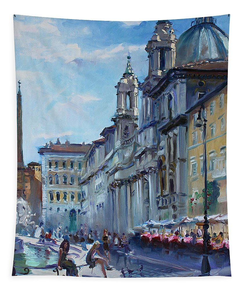 Italy Tapestry featuring the painting Rome Piazza Navona by Ylli Haruni