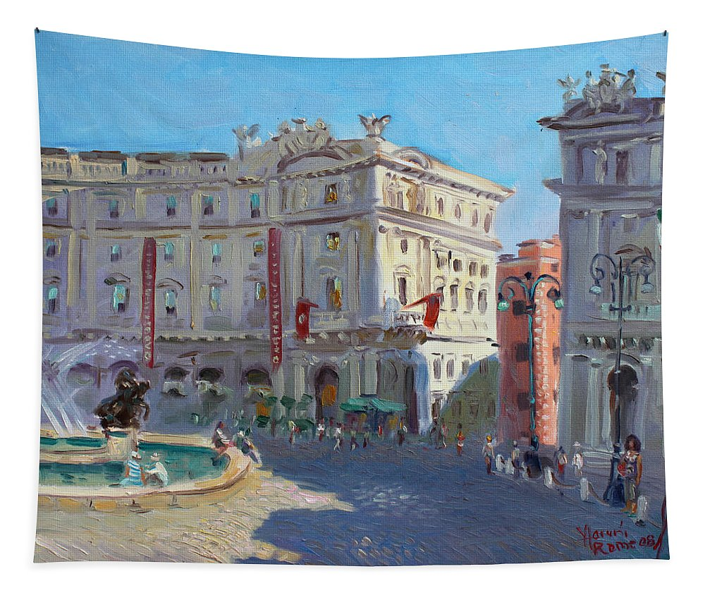 Rome Tapestry featuring the painting Rome Piazza Republica by Ylli Haruni