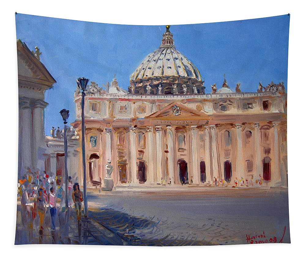 Rome Tapestry featuring the painting Rome Piazza San Pietro by Ylli Haruni