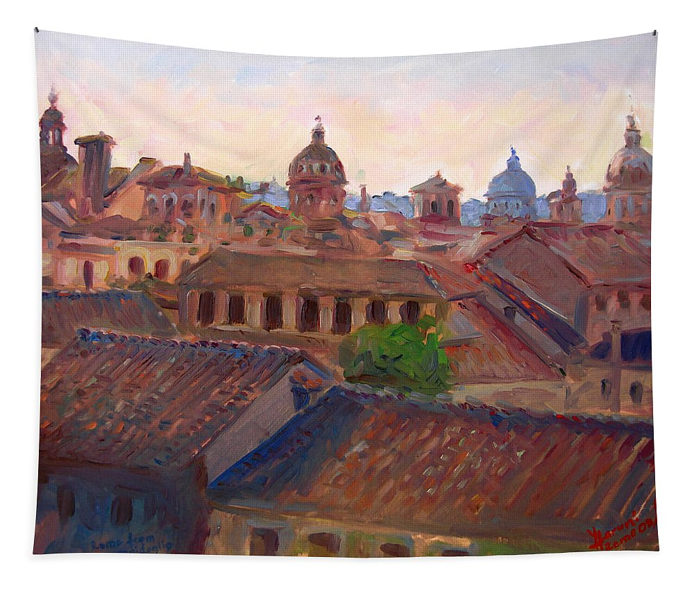 Rome Tapestry featuring the painting Rome Seen From Campidoglio by Ylli Haruni