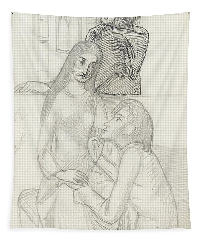 Romeo Tapestry featuring the drawing Romeo And Juliet, With Friar Lawrence by Simeon Solomon